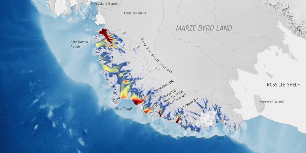 Ciencia.-Los glaciares antárticos aceleran en su carrera hacia el océano