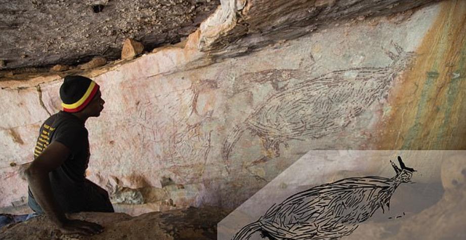 El canguro pintado en el techo de una cueva en Australia.