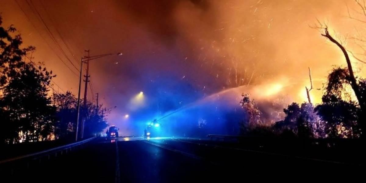 Autoridades continúan batallando amplio incendio forestal en San Sebastián