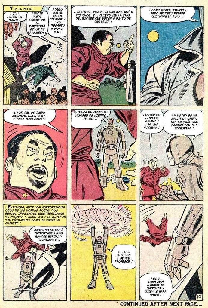 Página del primer cómic de Iron Man