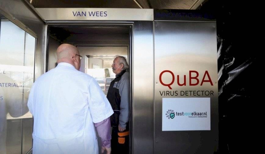 Cabina de gritos para determinar el coronavirus.