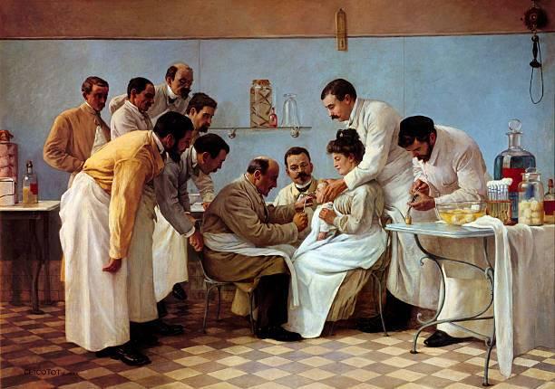 La intubación: pintura de Georges Chicotot sobre el tratamiento a un niño con difteria.