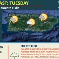 Vaguada generará aguaceros y tronadas sobre Puerto Rico