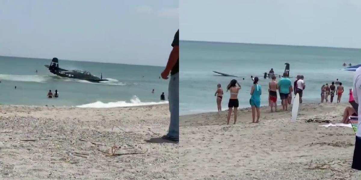 Avión de la Segunda Guerra Mundial falla y aterriza de emergencia en playa de Florida