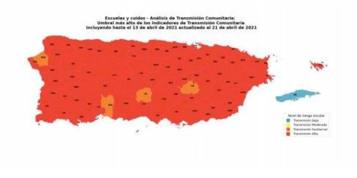 Casi todo Puerto Rico en riesgo crítico de COVID-19 con 73 municipios en rojo