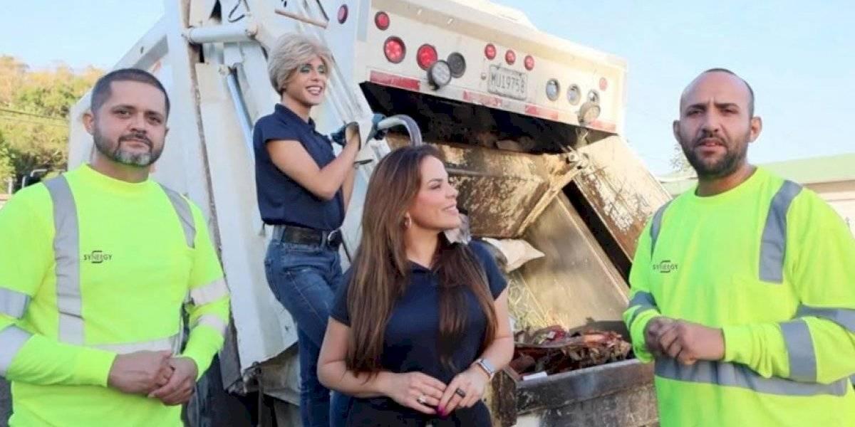 """Saudy Rivera y """"Magda"""" se convierten en recogedoras de basura"""