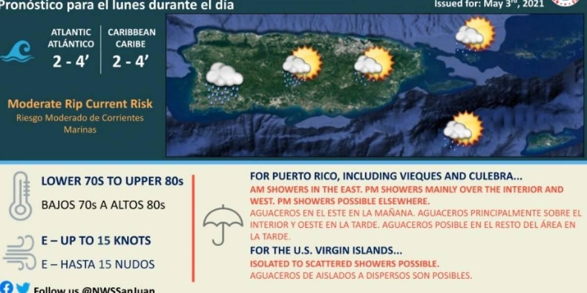 Esperan aguaceros en el este, interior y suroeste de Puerto Rico