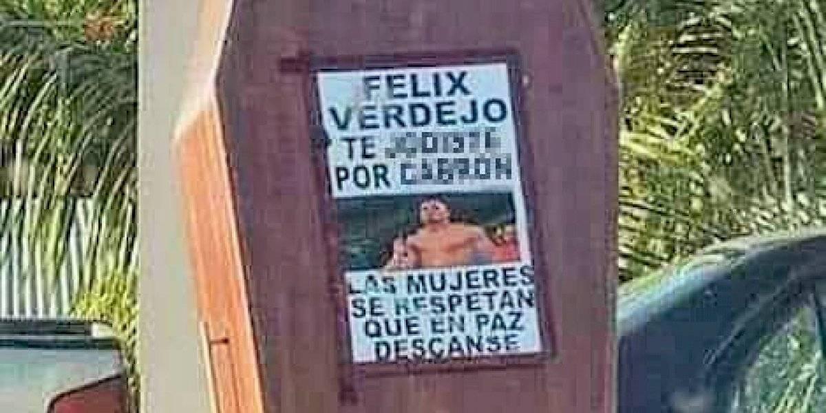 Colocan ataúd en Cupey con mensaje fuerte junto a foto de Verdejo