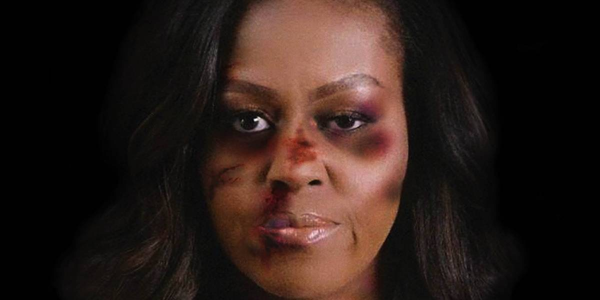Polémica campaña muestra a Michelle Obama como víctima de violencia