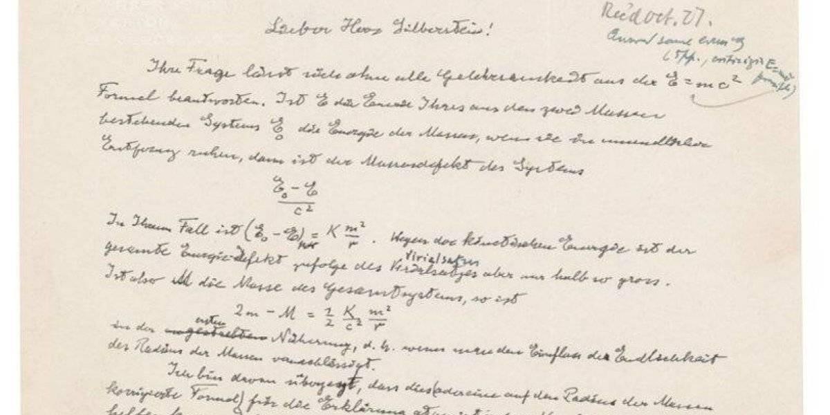 Subastan carta de Einstein en 1.2 millones de dólares