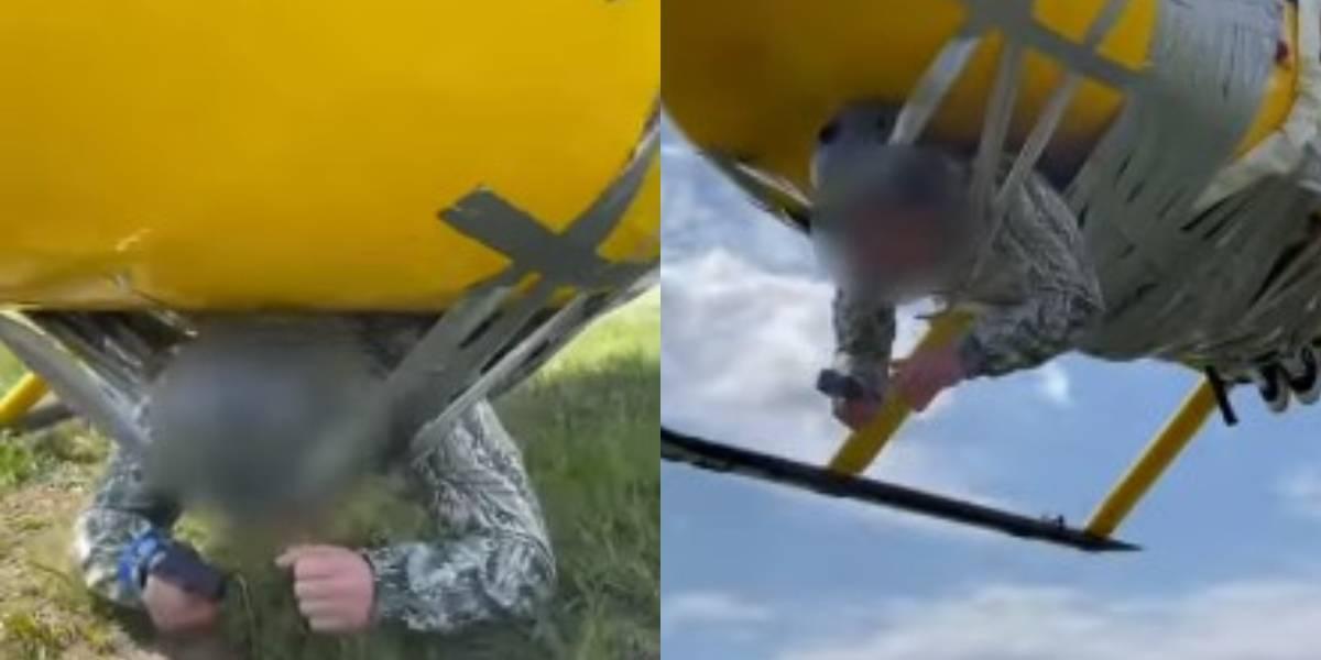 Youtuber ruso ata a hombre con cinta de embalaje a helicóptero y lo lleva de vuelo