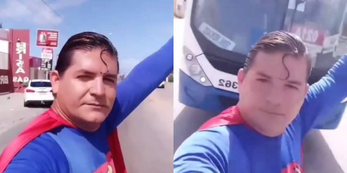 Hombre disfrazado de Superman intenta detener un guagua y lo chocan
