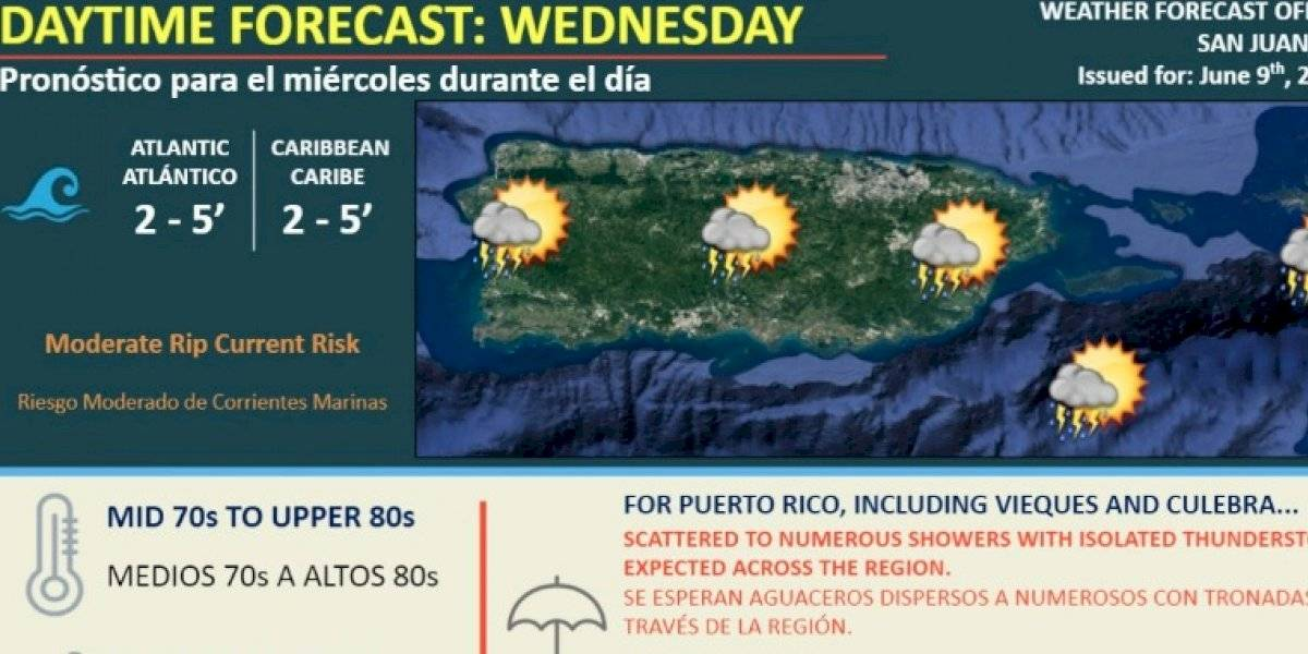 Pronostican más aguaceros y tronadas sobre Puerto Rico