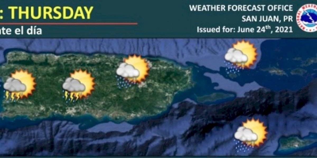 Sigue el tiempo inestable en Puerto Rico con lluvias y tronadas