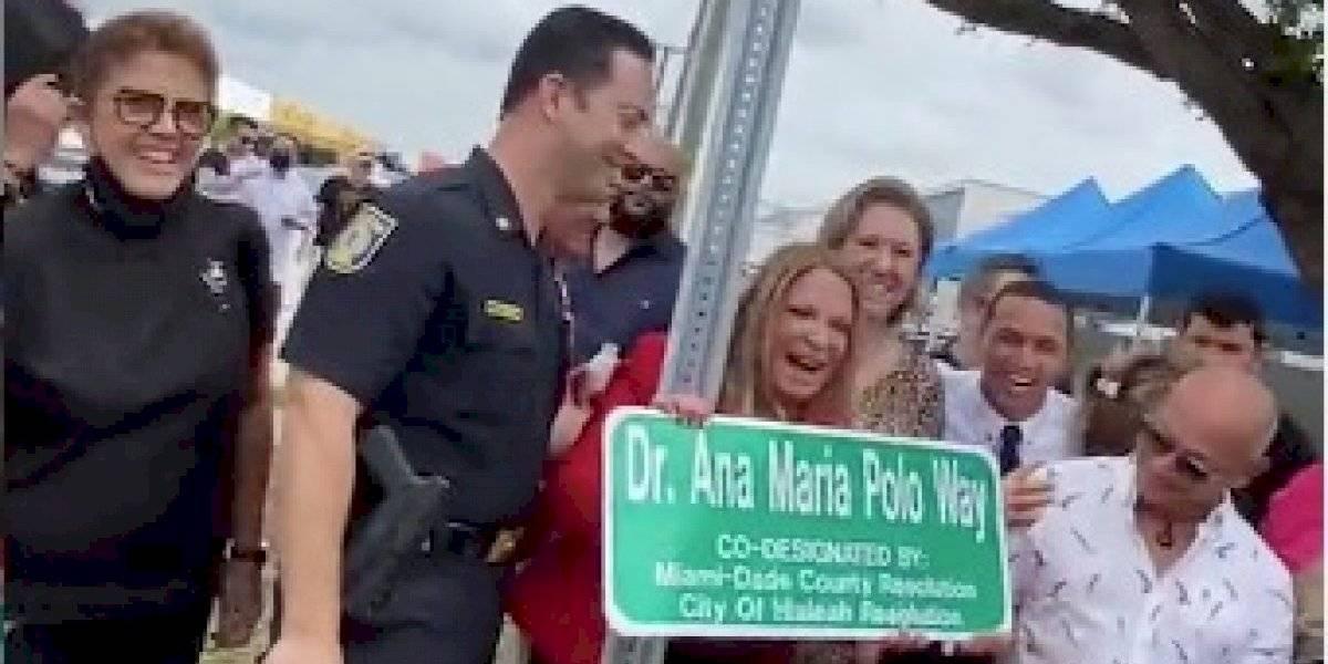 Nombran calle en honor a Ana María Polo en Miami-Dade