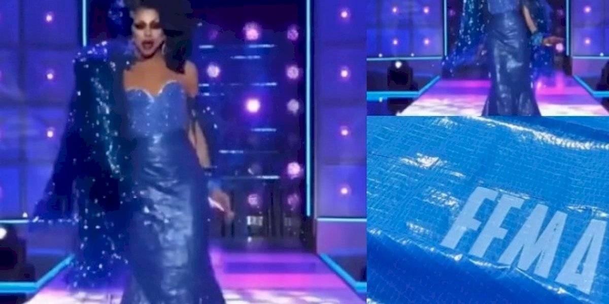 """Boricua se luce en la pasarela de """"Drag Race All Stars 6"""" con un toldo de FEMA"""
