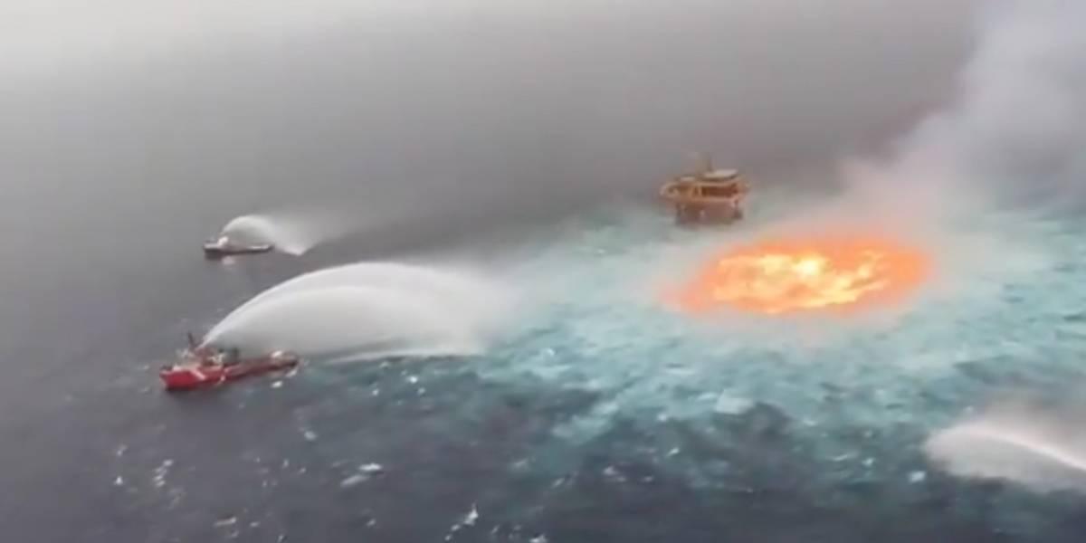 Videos: Ruptura en gasoducto submarino provoca incendio en pleno Golfo de México