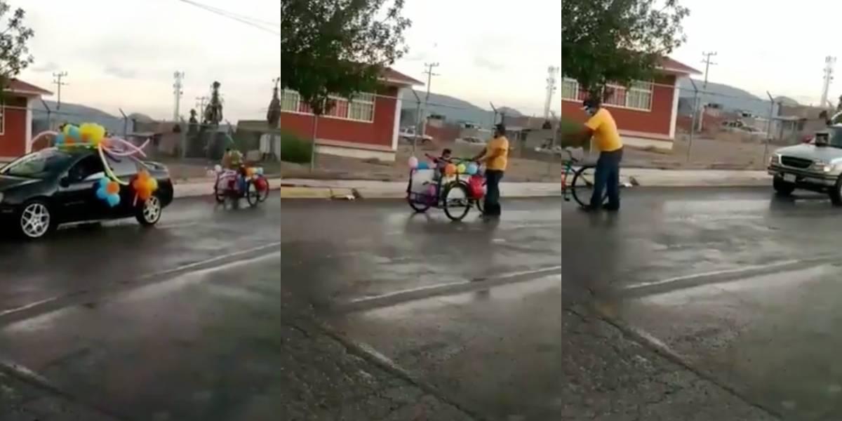 Abuelito adorna triciclo para ir a caravana de graduación de su nieta en México