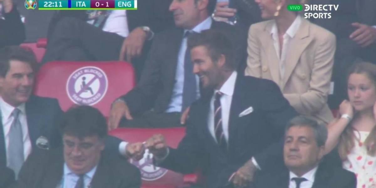 Tom Cruise y David Beckham se roban las miradas tras celebrar juntos gol de Inglaterra