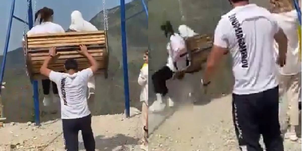 Mujeres caen al vacío tras reventarse columpio sobre acantilado en Rusia