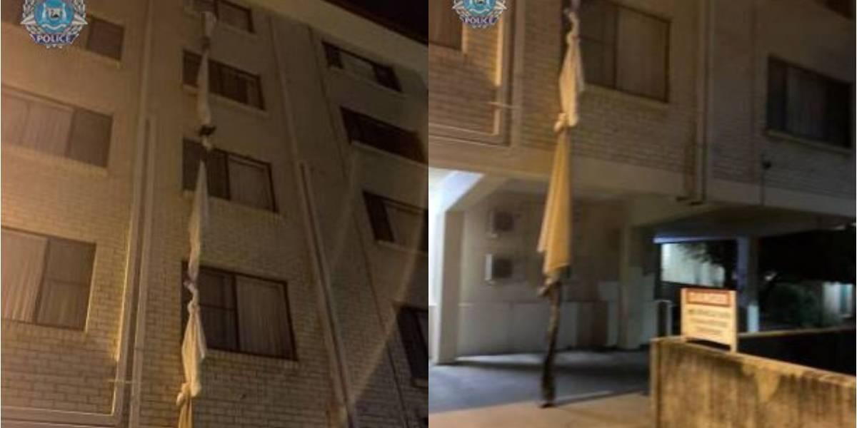Hombre escapa de la cuarentena en hotel atando sábanas por la ventana