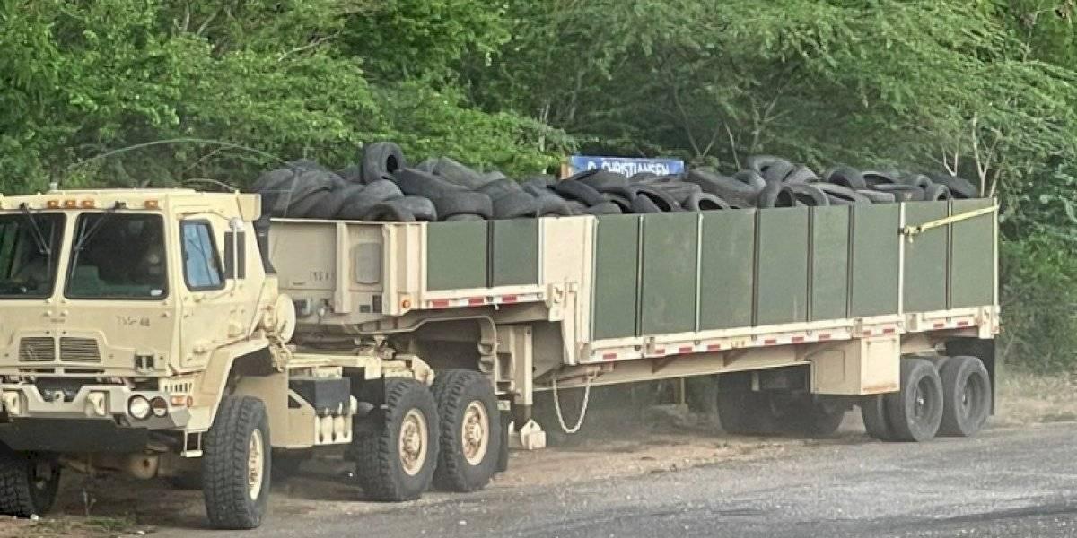 Guardia Nacional recogerá gomas que se iban a usar para polígono de tiro en Salinas