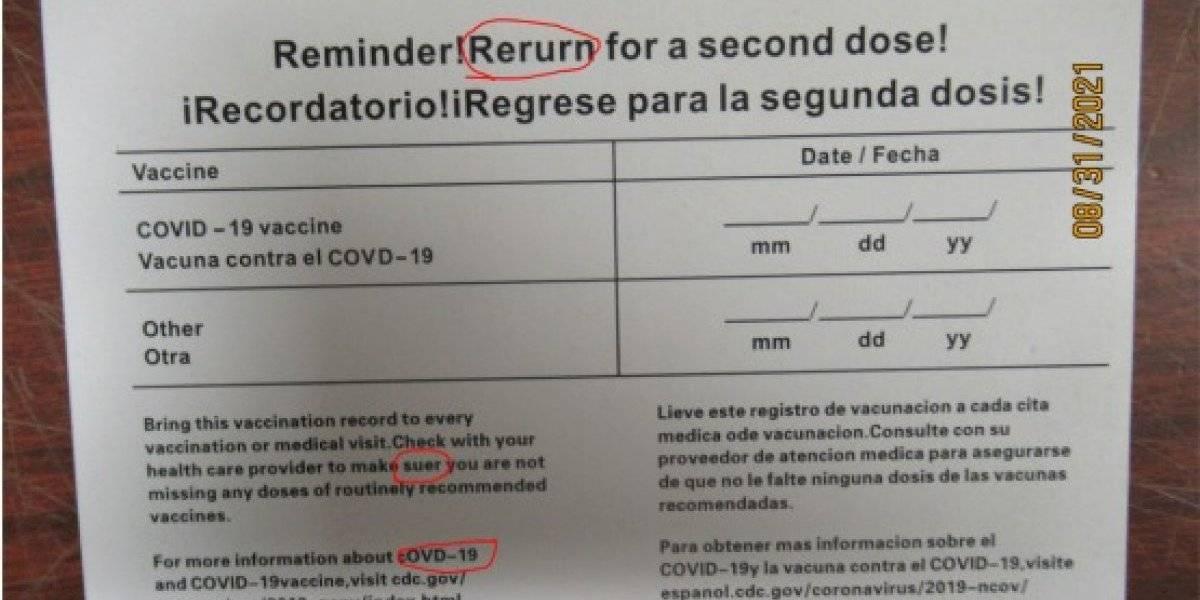 Envían tarjetas de vacunación falsas de China a Estados Unidos