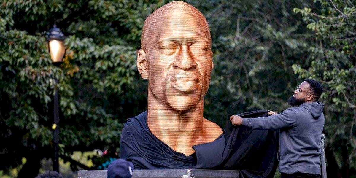 Vuelven a vandalizar estatua de George Floyd en NY