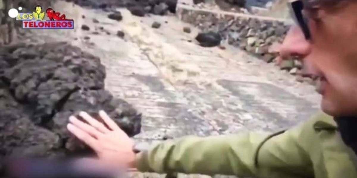 (Video) Periodista se quemó en vivo al tocar la lava del volcán en las Islas Canarias