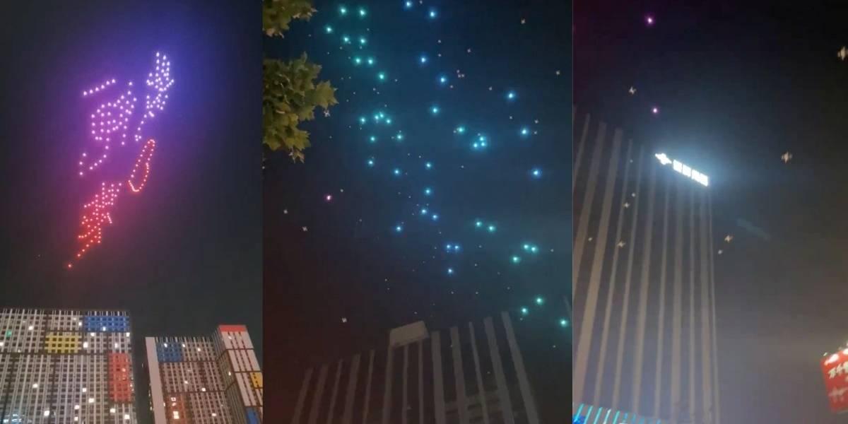 Lluvia de drones: El show aéreo que terminó en caos en China